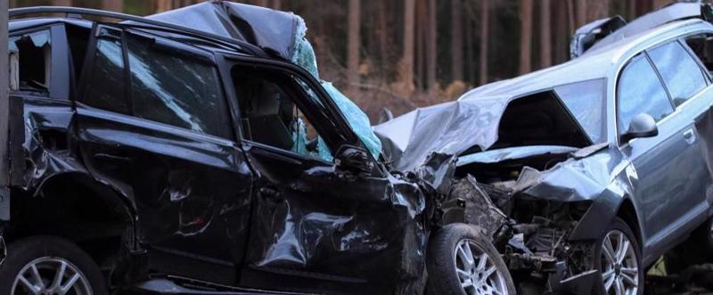 This image shows a head on collision between two cars.